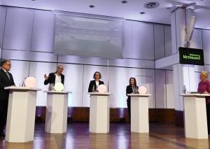 Moderatorin Stephanie Kowalewski (r.) befragte (v.l.) Thomas Dinkelmann, Nils Lessing, Sandra Pietschmann und Andrea Metz. Foto: Paul Esser