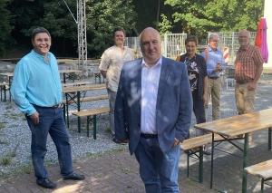 Die CDU hat ihr Programm und ihre Kampagne am Zeittunnel vorgestellt: (v.l.): Axel Effert, Patrick Schneider, Andreas Seidler, Elke Platzhoff, Walter Brühland und Martin Sträßer. Foto: TME