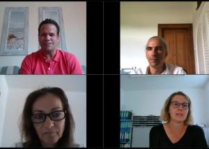 Nils Lessing (oben rechts, Grüne), Andrea Metz (unten links, FDP) und Sandra Pietschmann (unten rechts, unterstützt von CDU und SPD) sprachen mit Taeglich.ME-Redakteur Philipp Nieländer (oben links). Foto: Screenshot