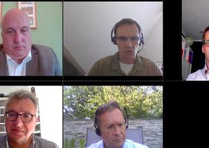 TME-Redakteur Thomas Reuter (links unten) sprach im TME-Video-Raum mit den Bürgermeister-Kandidaten Andreas Seidler (v. oben links), Stephan Mrstik, Benjamin Hann und Rainer Ritsche (unten rechts). Screenshot