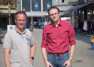Thomas May und Stephan Mrstik: Die Grünen sorgen sich um die Fußgängerzone. Foto: TME