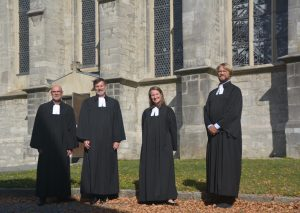 Superintendent Jürgen Buchholz, Pfarrer Ingolf Kriegsmann, Diakonin Yvonne Schulter, Pfarrer Thomas Rehrmann. Foto: Ev.ref. Kirchengemeinde